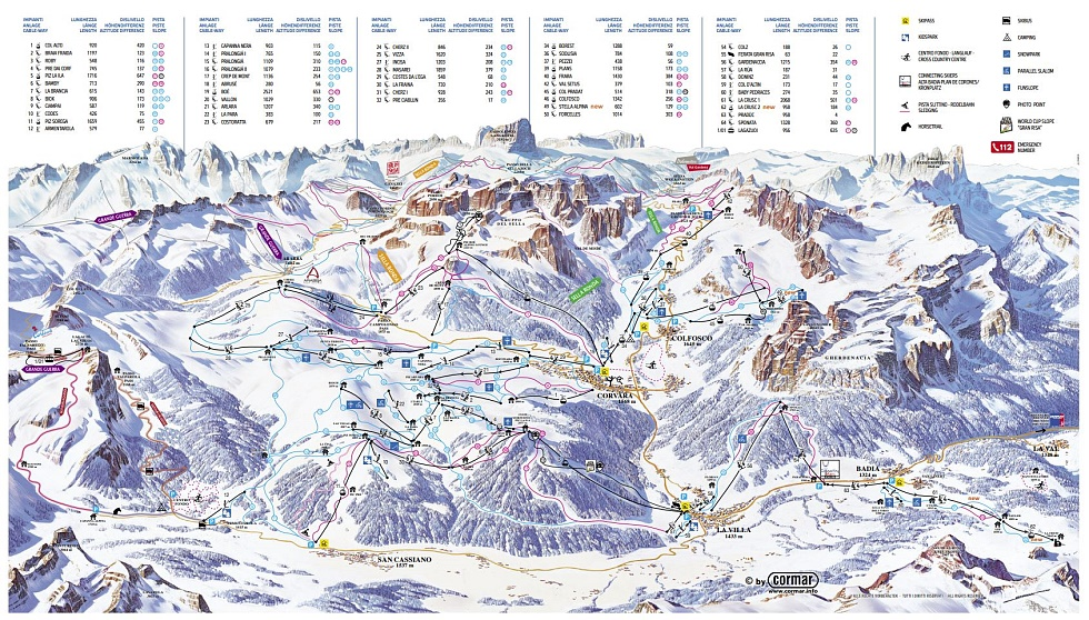 Maps of pistes and winter hiking routes