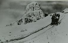 Sledge lift above Corvara with the Sassongher in sight